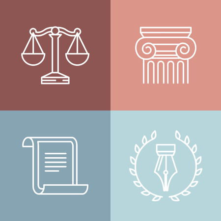 court judge: Vector set of juridical and legal logos and signs - line icons Illustration