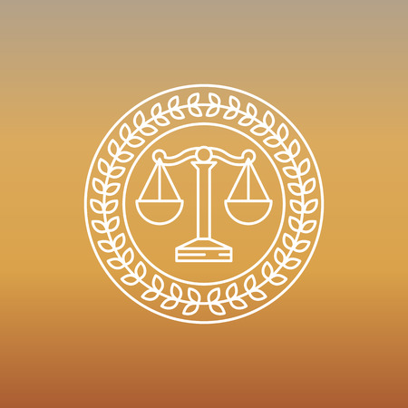 advocate: Vector juridical and legal logo and sign - line label
