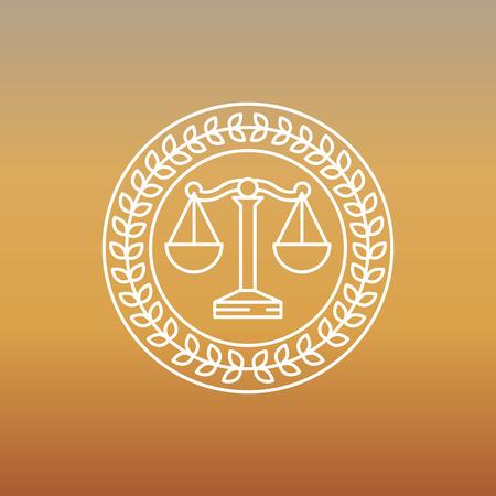 abogado: Vector logo y el signo jur�dico y legal - etiqueta de l�nea