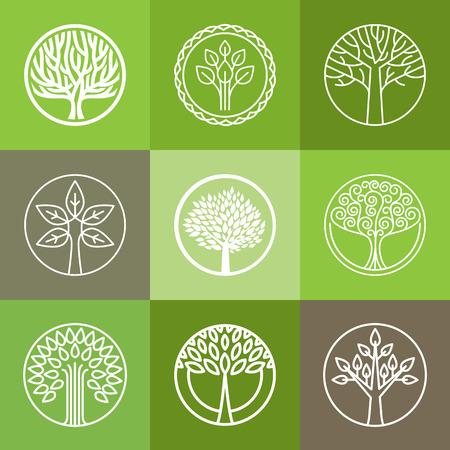 ベクター ツリー - 抽象的な有機性設計要素のセット - エコ ・ バイオ サークル ロゴバッジ