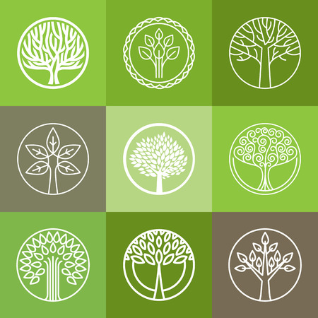 and organic: Vector tree logo - set of abstract organic design element - eco and bio circle badge
