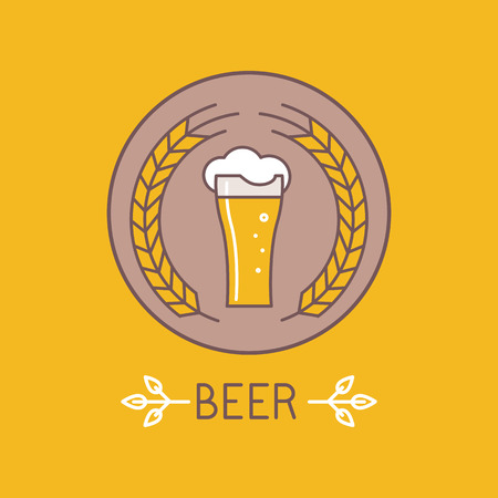 Vector beer logo and sign - line icons and design elements for pubs and bars Vector