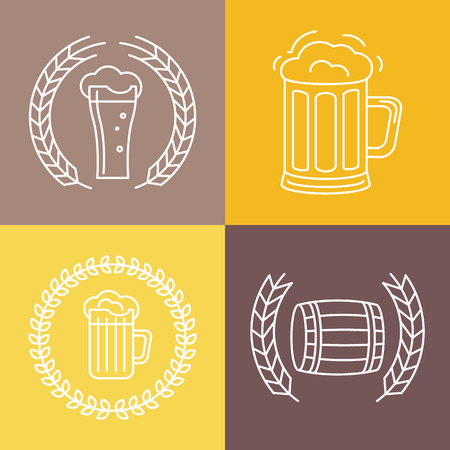 Vector beer logos and signs - line icons and design elements for pubs and bars Vector