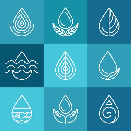 agua: Conjunto de s�mbolos y signos de agua - plantillas de logotipo abstracta e iconos de l�neas