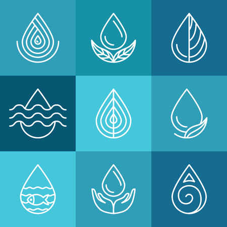 Set of water symbols and signs - abstract logo templates and line icons