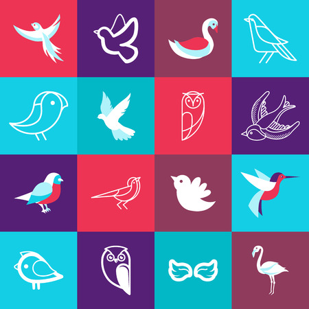 wing logo: Vector set of bird logos and signs in flat and line style