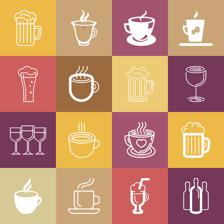Vector set of line logos and signs - drinks, cups and glasses