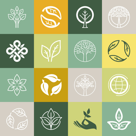 leaf logo: Vector set or organic signs and logo design elements - eco and bio emblems Illustration