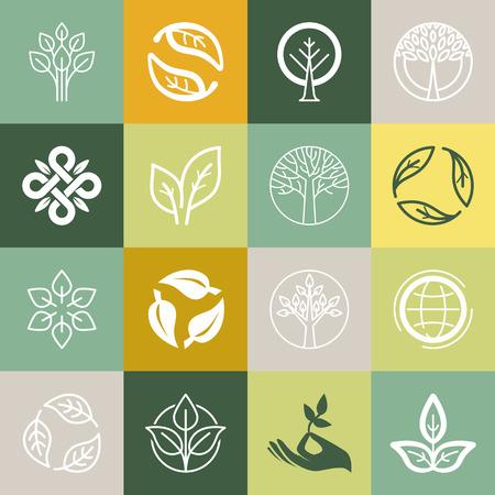 Vektor-Set oder Bio-Zeichen und Logo-Design-Elemente - Eco und Bio-Embleme