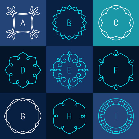 Vector set of abstract frames and logo templates in line style - graphic design elements