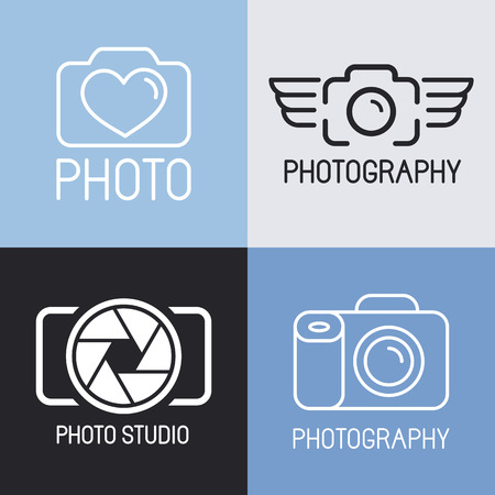 Vector set of photography and camera icons and signs - line icons set