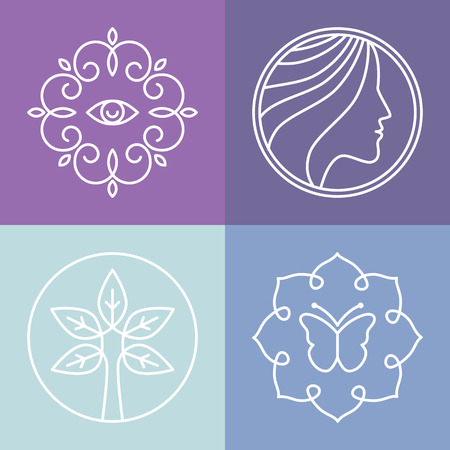 hair product: Vector beauty and spa line icons and signs - abstract design elements for salons and cosmetics Illustration