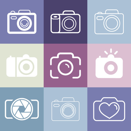 Vector set of photography and camera icons and signs - line icons set Vector
