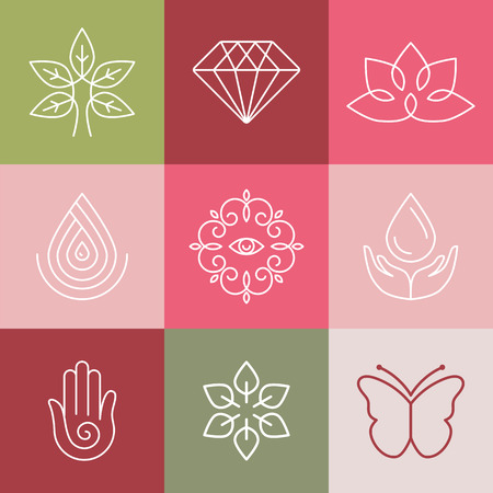 lotus leaf: Vector beauty and spa line icons and signs - abstract design elements for salons and cosmetics Illustration