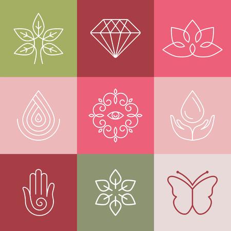 flor de loto: Vector de belleza y spa iconos de l�neas y signos - elementos de dise�o abstracto para Salones de belleza y cosm�tica Vectores