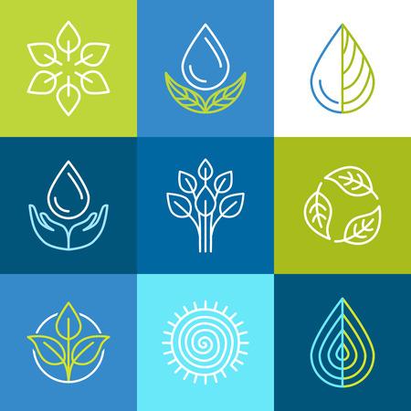feuille arbre: Vector set d'ic�nes de lignes et signes - embl�mes organiques et les insignes de l'�cologie