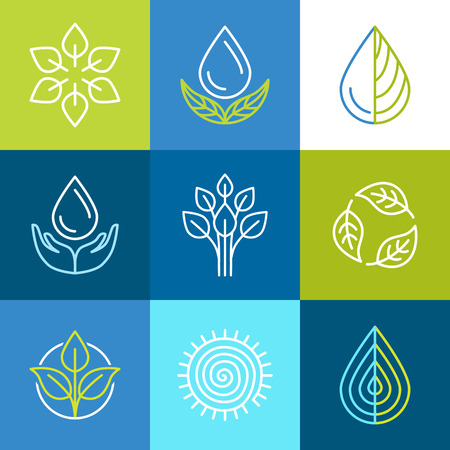 Vector set of line icons and signs - organic emblems and ecology badges