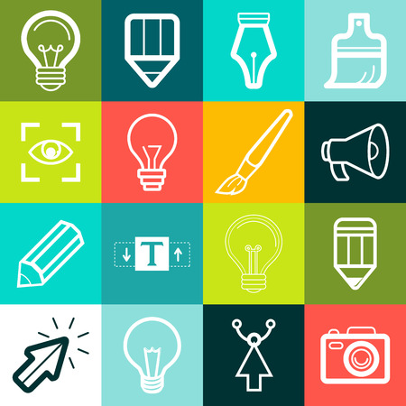 Vector graphic design symbols and signs - creative icons Illustration