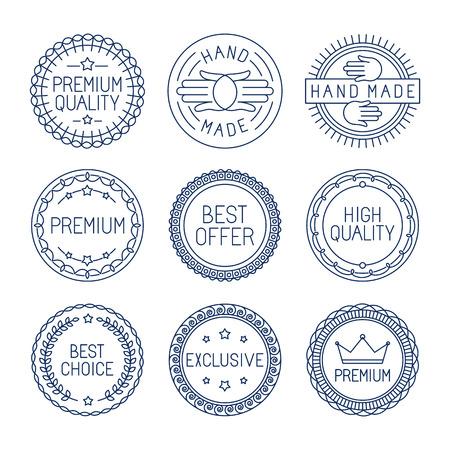 Vector set van premium labels en badges in lijn stijl - handgemaakt, beste keuze en hoge kwaliteit