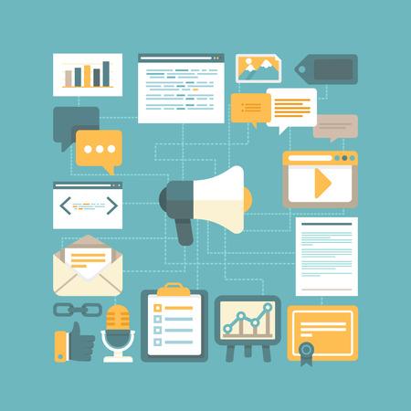 Concepto Vector contenido de marketing en estilo plano - trabajar con los contenidos digitales y la publicidad Vectores