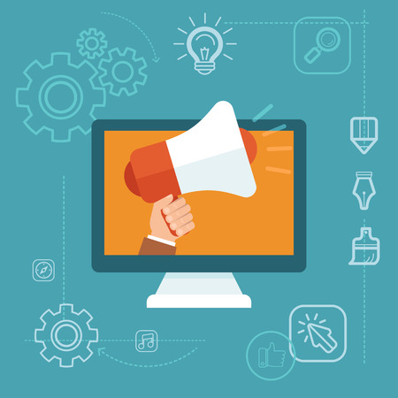 디지털: 플랫 스타일에서 벡터 디지털 마케팅 개념 - 손을 잡고 확성기 - 온라인 광고 캠페인 개발
