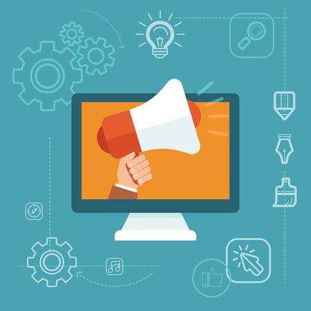 Vector concepto de marketing digital en estilo plano - mano que sostiene el megáfono - desarrollo de la publicidad online campaña Ilustración de vector