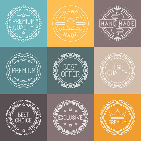 hand made: Vector set of premium labels and badges in line style - handmade, best choice and high quality