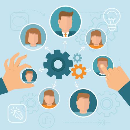 management concept: Vector concepto de gesti�n de recursos humanos en estilo plano