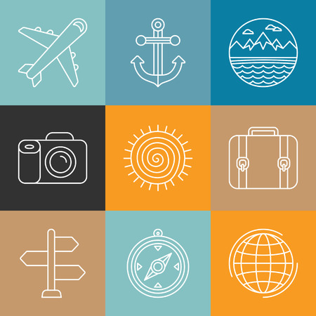 Vector travel icons in outline style - holiday and vacation signs Vector