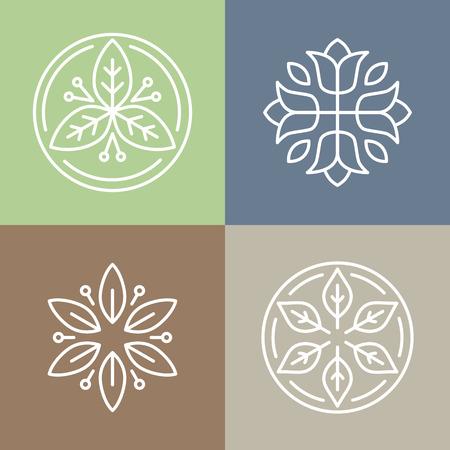 Vector bloemen pictogrammen en logo-ontwerp sjablonen in schets stijl - abstracte monogrammen en emblemen Stock Illustratie