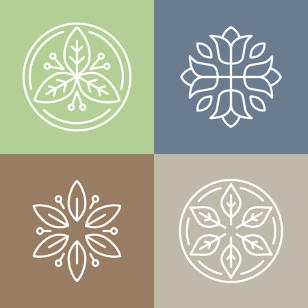leaf line: Vector floral icons and logo design templates in outline style - abstract monograms and emblems