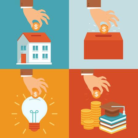 Vector investering concepten in vlakke stijl - geld te investeren in onderwijs, onroerend goed, het opstarten en het goede doel Vector Illustratie