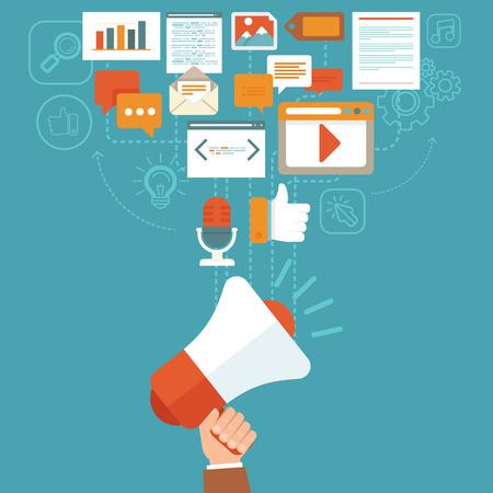 médias: Numériques vectorielles concept de marketing dans le style plat - infographies et icônes - médias numériques en ligne