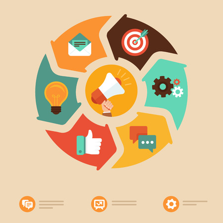 redes de mercadeo: Vector concepto de marketing en Internet en estilo plano - megáfono e iconos de negocio -online elementos de diseño infográfico