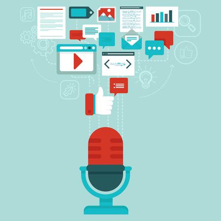 digitální: Vector podcast koncept v plochém stylu - mikrofon a audio ikony a značky