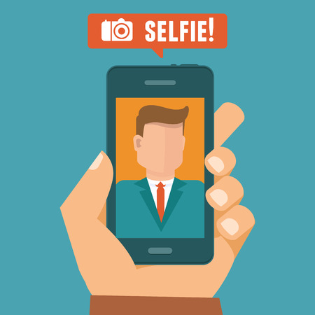 mobile phone: Vector selfie concept - flat character taking selfie by mobile phone - new technology concept Illustration