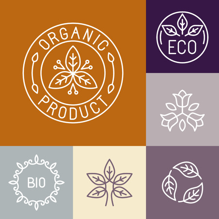 cosmetics: Vector organic product label in outline style - floral logos and design elements Illustration