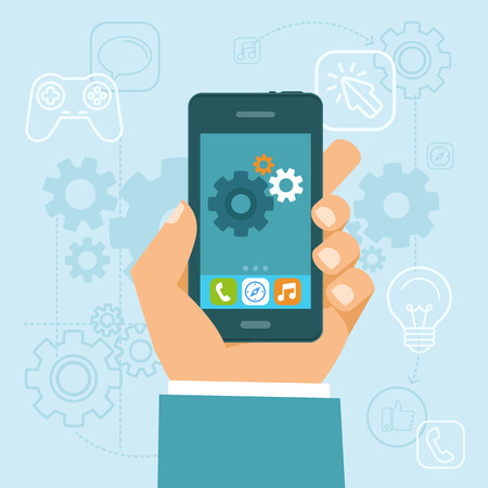 Vector app development concept in flat style - mobile phone and gears on the screen - infographic design elements and icons Иллюстрация