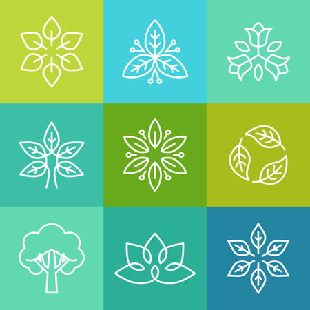 Vector ecology and organic logos in outline style - abstract design elements and signs Vettoriali