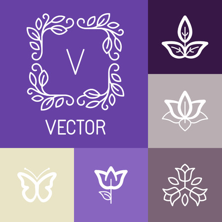 Vector floral logos and design elements in outline style - abstract emblems and symbols for spa, cosmetics and  floral business Vector