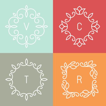 cosmeticos: Abstractos plantillas de dise�o de logotipo para el balneario, tiendas de flores y cosm�ticos - cuadros de flores de contorno y bordes Vector