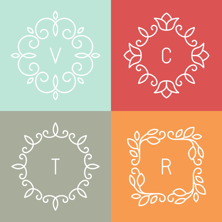 flower borders: Vector floral outline frames and borders - abstract logo design templates for spa, floral shops and cosmetics Illustration