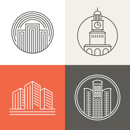 Vector buildings and houses logos and signs - design elements in trendy mono line style Çizim