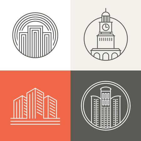 mimari ve binalar: Vektör binalar ve evler logo ve işaretler - moda mono hat tarzı tasarım öğeleri Çizim