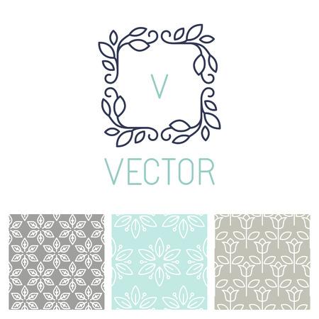 꽃 테두리와 트렌디 한 모노 라인 스타일 원활한 패턴의 벡터 설정 - 꽃집, 스파 및 화장품에 대한 디자인 요소 일러스트