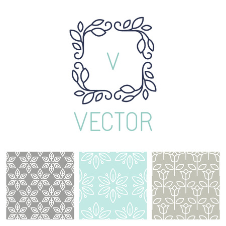 Vector set of floral border and seamless patterns in trendy mono line style - design elements for florists, spa and cosmetics Çizim