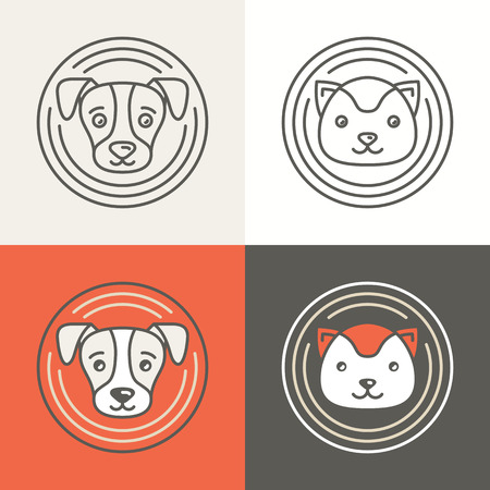 smiling cat: Vector dog and cat icons and logos in trendy mono line style - friendly pets - circle badges and emblems