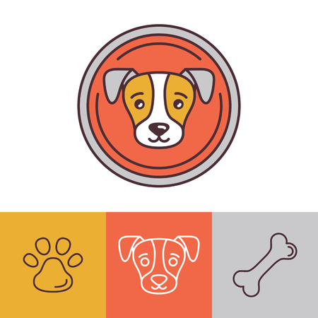 dogs: Vector dog icons in trendy mono line style - friendly pet Illustration