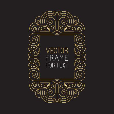 トレンディなモノラル ライン スタイル - ゴールデンと黒のカラーのアールデコ モノグラム設計要素のテキストにコピー スペースを持つベクトルの