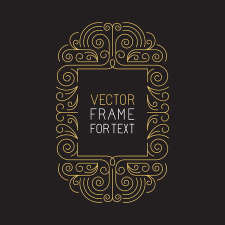 Vector geometric frame with copy space for text in trendy mono line style - art deco monogram design element in golden and black color